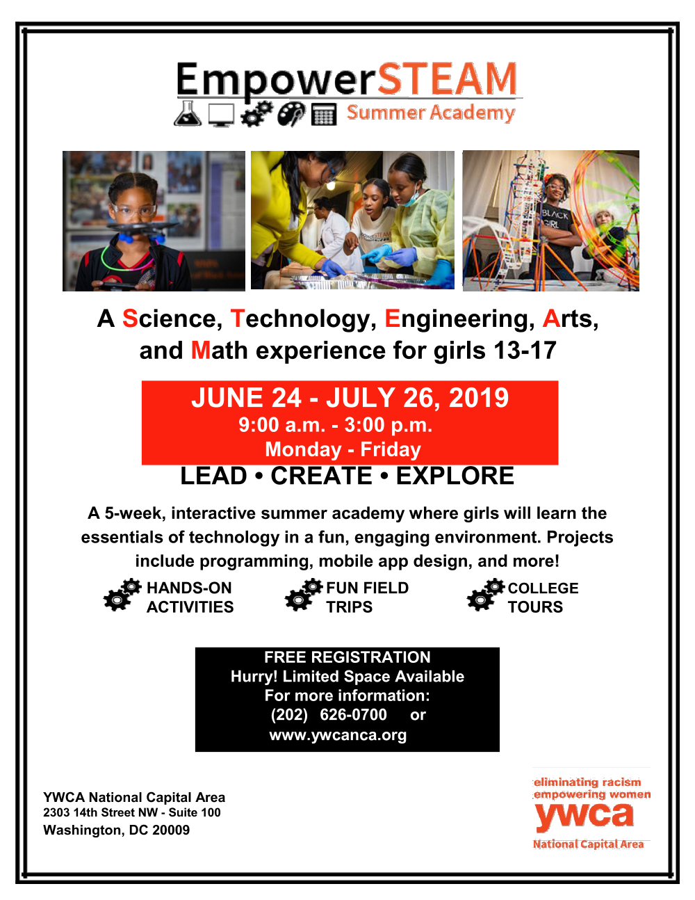 Flyer with photos and text to promote registration for EmpowerSTEAM Summer Academy.