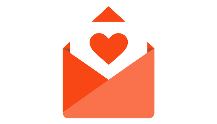 Orange envelope graphic with heart