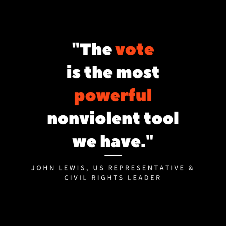 "text on image that reads ""The vote is the most powerful nonviolent tool we have"""