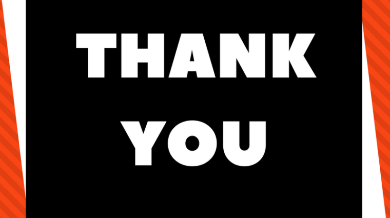 "White writing in black square that reads ""thank you"""